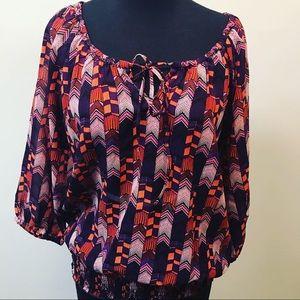 DOTS sheer purple orange 3/4 sleeve blouse Sz M